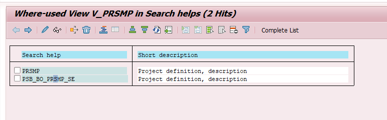 Where-Used search help results