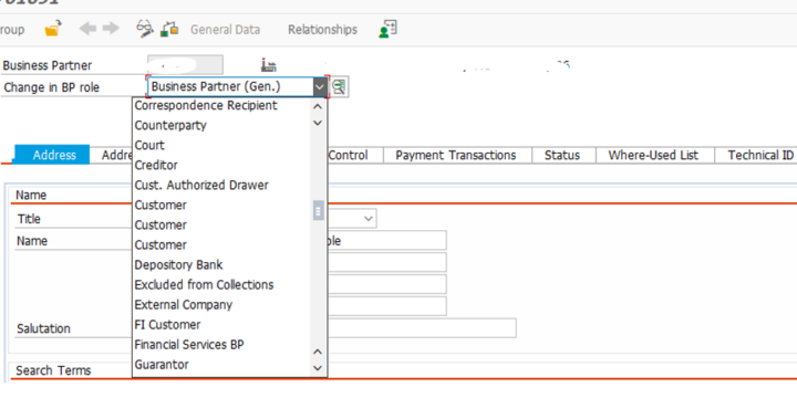 SAP BP Tcode hide role in Dropdown