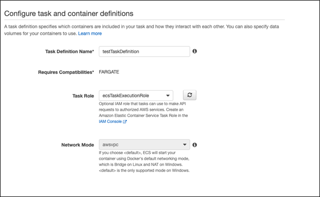 AWS Configure task and container defintion  and scaling up AWS